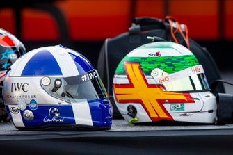 Helmets of David Coulthard and Andy Priaulx