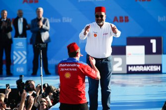 Dilbagh Gill, CEO, Team Principal, Mahindra Racing, celebrates on the podium