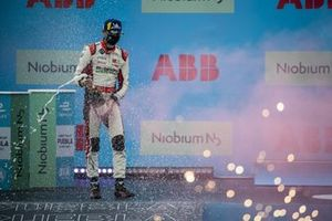Rene Rast, Audi Sport ABT Schaeffler, 2nd position, sprays Champagne on the podium