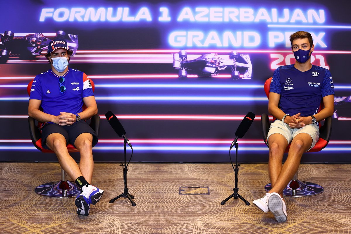 Fernando Alonso, Alpine Y George Russell, Williams en la conferencia de prensa