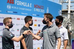 Sam Bird, Jaguar Racing, bumps fists with Rene Rast, Audi Sport ABT Schaeffler