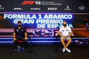 Sergio Perez, Red Bull Racing and Nikita Mazepin, Haas F1 in the Press Conference