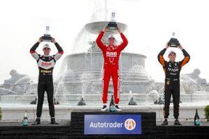Rinus VeeKay, Ed Carpenter Racing Chevrolet, Race winner Marcus Ericsson, Chip Ganassi Racing Honda, Patricio O'Ward, Arrow McLaren SP Chevrolet on the podium
