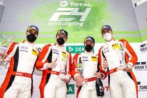 Podium: #31 Frikadelli Racing Team Porsche 911 GT3 R: Patrick Pilet, Frederic Makowiecki, Maxime Martin, Dennis Olsen