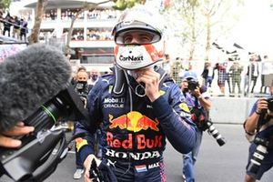 Max Verstappen, Red Bull Racing, 1st position, celebrates victory in Parc Ferme