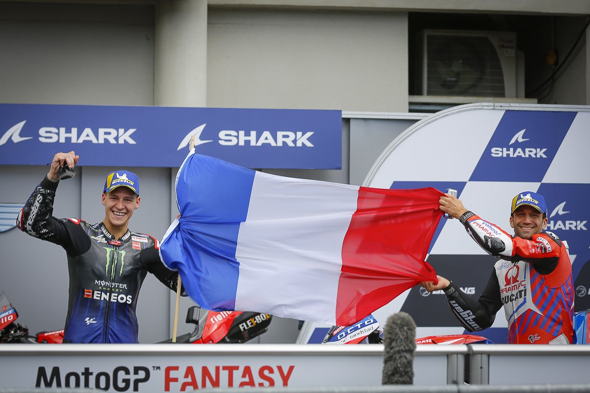 Segundo lugar Johann Zarco, Pramac Racing, tercer lugar Fabio Quartararo, Yamaha Factory Racing
