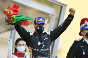 Antonio Felix Da Costa, DS Techeetah, celebrates with a Portuguese flag on the podium