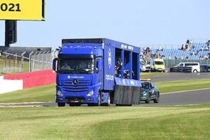 Max Verstappen, Red Bull Racing, 1st position, Lewis Hamilton, Mercedes, 2nd position, and Valtteri Bottas, Mercedes, 3rd position, tour the circuit in the victory lap truck after Sprint Qualifying