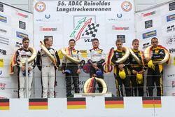 Podium: Sieger #28 Land Motorsport, Audi R8 LMS: Christopher Mies, Connor De Phillippi; 2. #911 Mant