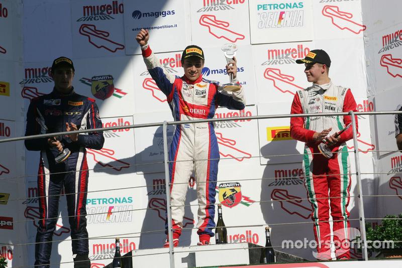 Podium: second place Yan Shlom, RB Racing, winner Marcos Siebert, Jenzer Motorsport, third place Juri Vips, Prema Powerteam