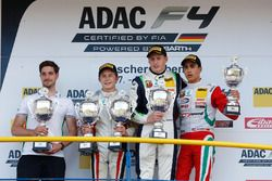 Podium: race winner Kim-Luis Schramm, US Racing, second place Leonard Hoogenboom, Van Amersfoort Racing, third place Juan Manuel Correa, Prema Powerteam