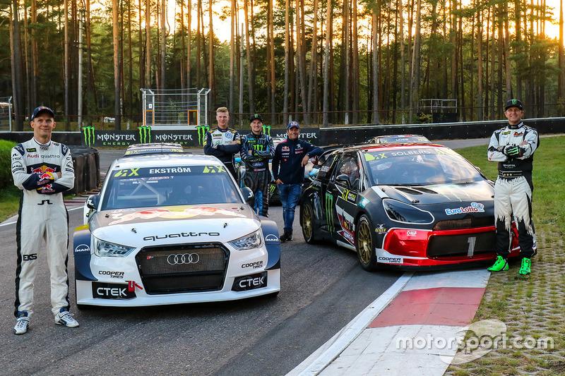Mattias Ekström, EKS RX Audi S1, Petter Solberg, PSRX Citroën DS3 RX, Johan Kristoffersson, Volkswagen Team Schweden, Andreas Bakkerud, Hoonigan Racing Division Ford, Sebastien Loeb, Team Peugeot Hansen