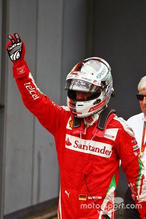 Sebastian Vettel, Ferrari celebrates his third position in parc ferme