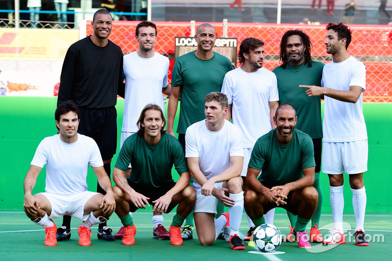 Line up at the charity 5-a-side football match. F1 drivers (L to R): Sergio Perez, Sahara Force India F1; Jolyon Palmer, Renault Sport F1 Team; Max Verstappen, Red Bull Racing; Fernando Alonso, McLaren; Daniel Ricciardo, Red Bull Racing
