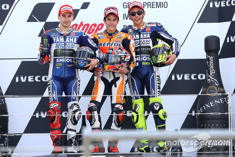 Le podium du GP d'Aragón 2013 : Marc Márquez, Jorge Lorenzo, Valentino Rossi