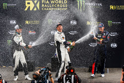 Podium: winner Mattias Ekström, EKS RX Audi S1, second place Petter Solberg, PSRX Citroën DS3 RX, th