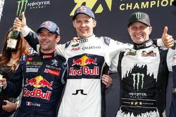 Podium: winner Mattias Ekström, EKS RX, second place Sébastien Loeb, Team Peugeot Hansen, third place Petter Solberg, Petter Solberg World RX Team