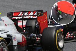 Haas F1 Team VF-16 detalle del alerón trasero