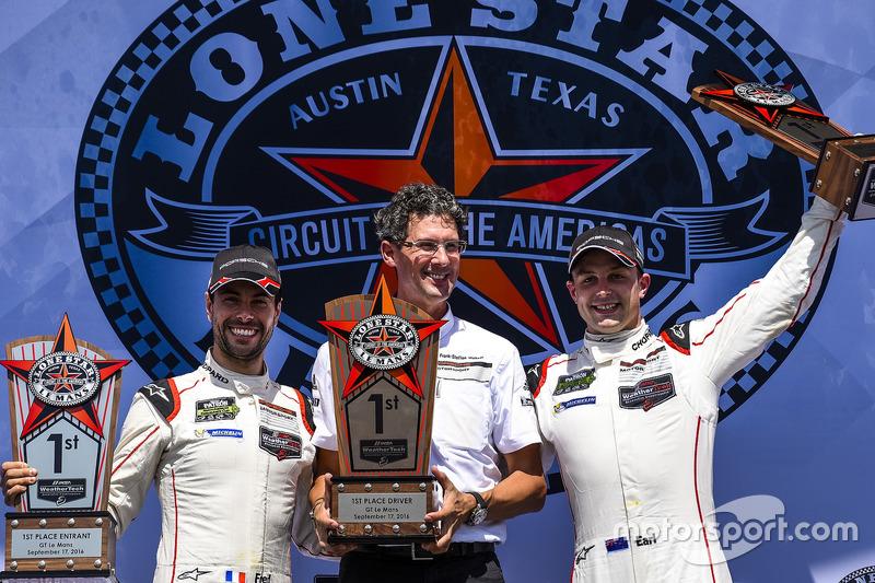 GTLM first place #912 Porsche Team North America Porsche 911 RSR: Earl Bamber, Frédéric Makowiecki