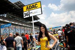 Grid girl of #36 bigFM Racing Team Schütz Motorsport, Porsche 911 GT3 R: Marvin Dienst, Christopher Zanella
