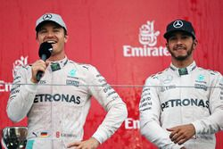 The podium (L to R): Race winner Nico Rosberg, Mercedes AMG F1 with third placed team mate Lewis Ham