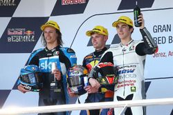 Podium: winner Brad Binder, Red Bull KTM Ajo, second place Nicolo Bulega, Sky Racing Team VR46, third place Francesco Bagnaia, Aspar Team Mahindra