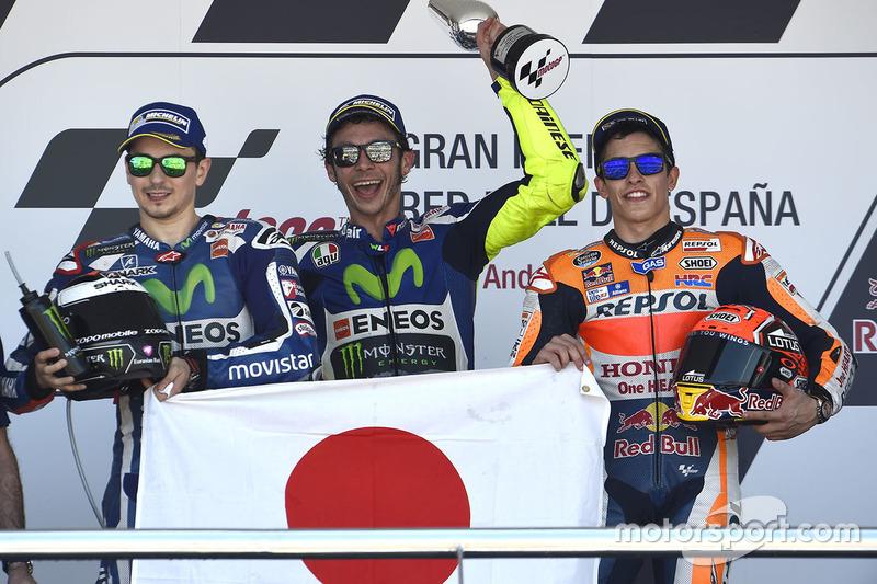 2016: 1. Valentino Rossi, 2. Jorge Lorenzo, 3. Marc Marquez