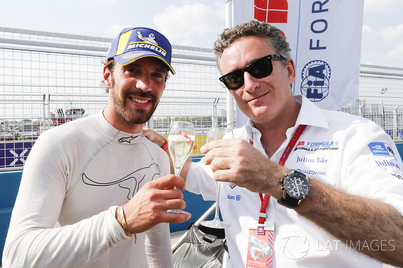 Jean-Eric Vergne, Techeetah, celebrates with Alejandro Agag, CEO, Formula E
