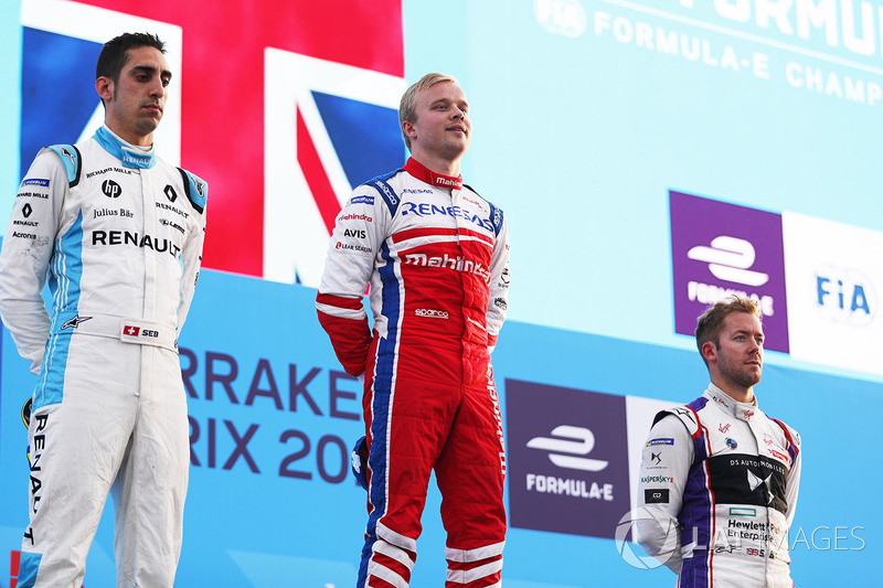 Podium: race winner Felix Rosenqvist, Mahindra Racing, second place Sébastien Buemi, Renault e.Dams, third place Sam Bird, DS Virgin Racing, celebrate on the podium