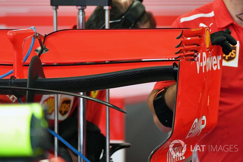 Detalle del alerón trasero Ferrari SF71H