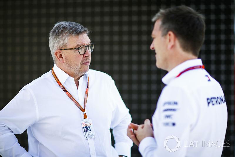 Ross Brawn, Director General de Motorsports, FOM, y James Allison, Director Técnico, Mercedes AMG