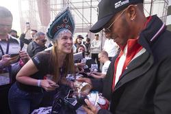 Lewis Hamilton, Mercedes AMG F1, signs a set of F1 nesting dolls