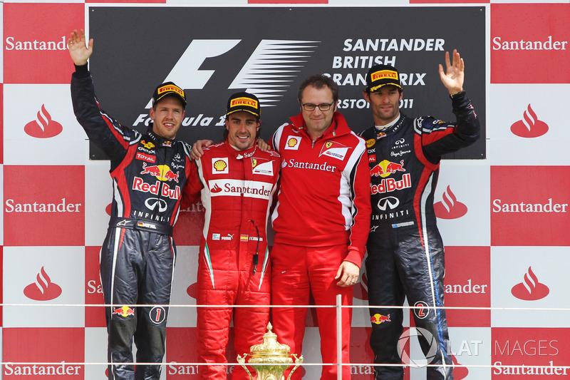 2011: 1. Fernando Alonso, 2. Sebastian Vettel, 3. Mark Webber