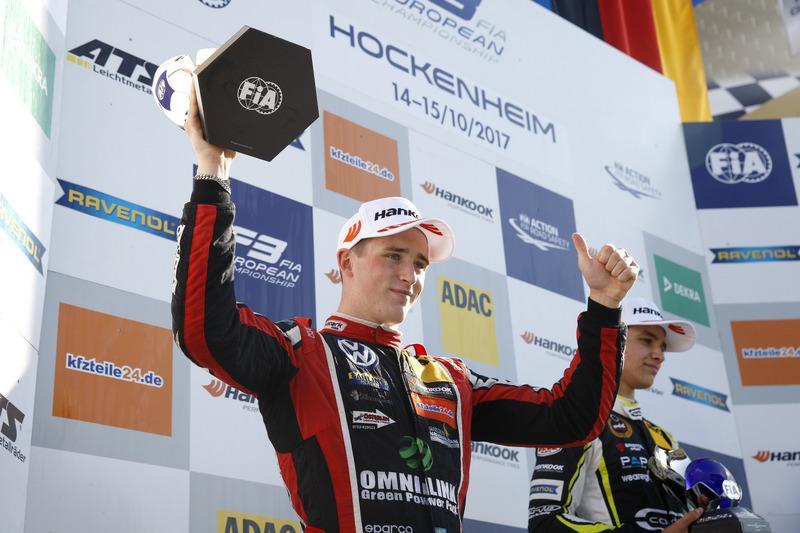Champion Podium: second place Joel Eriksson, Motopark Dallara F317 - Volkswagen