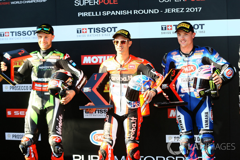 Top3 after Superpole: Jonathan Rea, Kawasaki Racing, Marco Melandri, Ducati Team, Alex Lowes, Pata Y