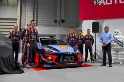 The Hyundai team, including Thierry Neuville, Andreas Mikkelsen, Dani Sordo, Hayden Paddon and team