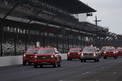 Chevrolet safety trucks dry the track