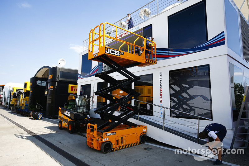 The Williams team prepare their paddock hospitality area