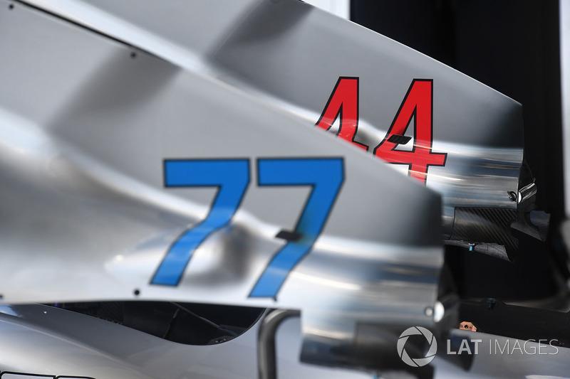 Vue détaillée de la carrosserie de la Mercedes-AMG F1 W09