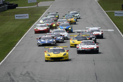 #3 Corvette Racing Chevrolet Corvette C7.R, GTLM: Antonio Garcia, Jan Magnussen leads the field at the green flag.