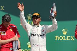 Lewis Hamilton, Mercedes-AMG F1 W09 on the podium