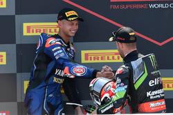 Podium: race winner Jonathan Rea, Kawasaki Racing, second place Michael van der Mark, Pata Yamaha