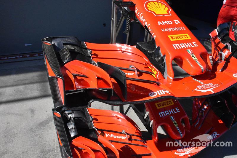 Detalhe da asa frontal da Ferrari SF71H
