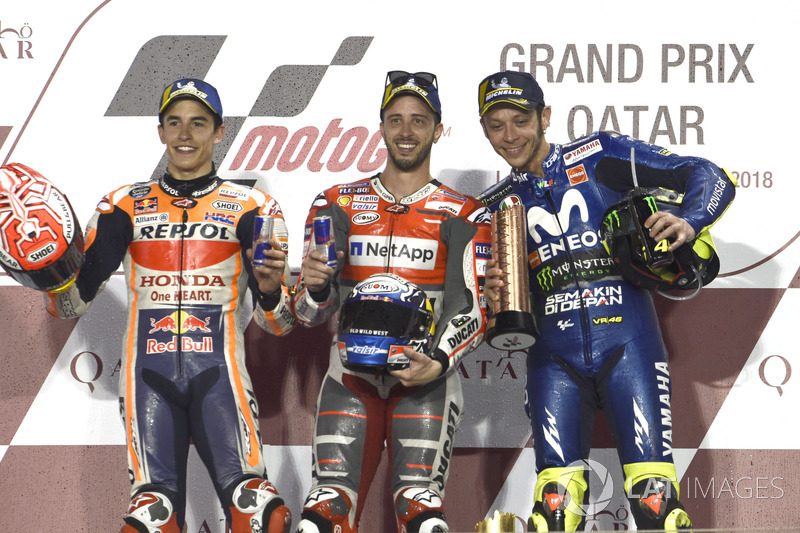 Podium: second place Marc Marquez, Repsol Honda Team, winner Andrea Dovizioso, Ducati Team, third place Valentino Rossi, Yamaha Factory Racing