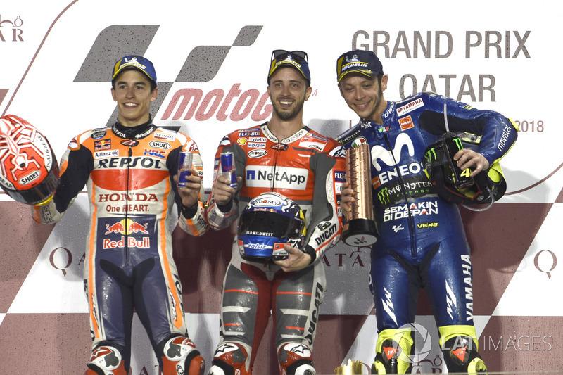 Podio: 1º Andrea Dovizioso, 2º Marc Marquez,3º Valentino Rossi