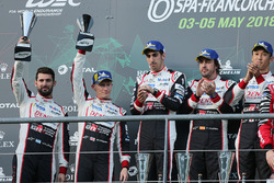 Podium: second place #7 Toyota Gazoo Racing Toyota TS050: Mike Conway, Jose Maria Lopez