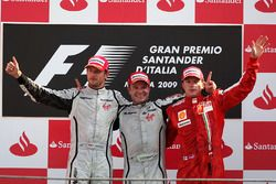 Podium: race winner Rubens Barrichello, Brawn Grand Prix, second place Jenson Button, Brawn Grand Pr