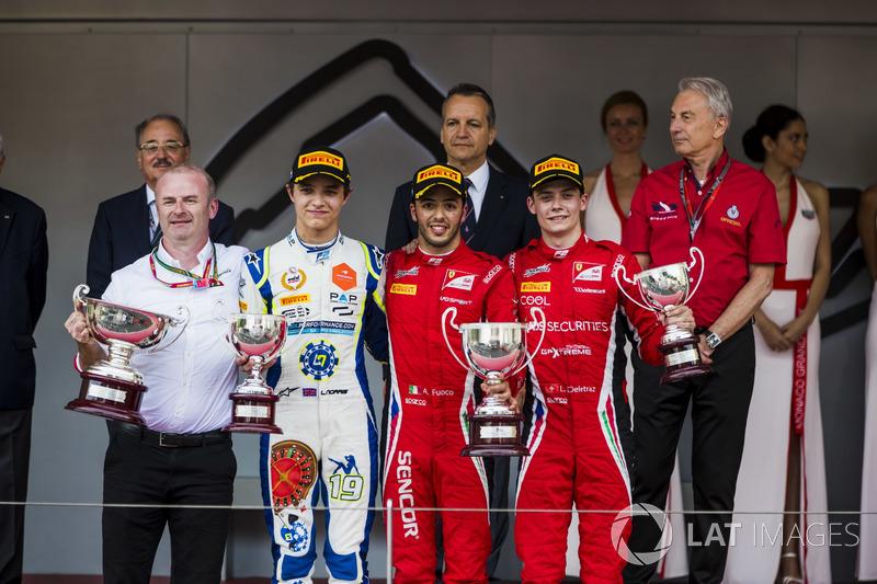 Podium: Lando Norris, Carlin, Antonio Fuoco, Charouz Racing System, Louis Deletraz, Charouz Racing S
