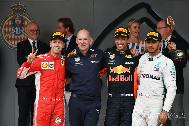 Podium: second place Sebastian Vettel, Ferrari, Adrian Newey, Red Bull Racing, Race winner Daniel Ricciardo, Red Bull Racing, third place Lewis Hamilton, Mercedes-AMG F1