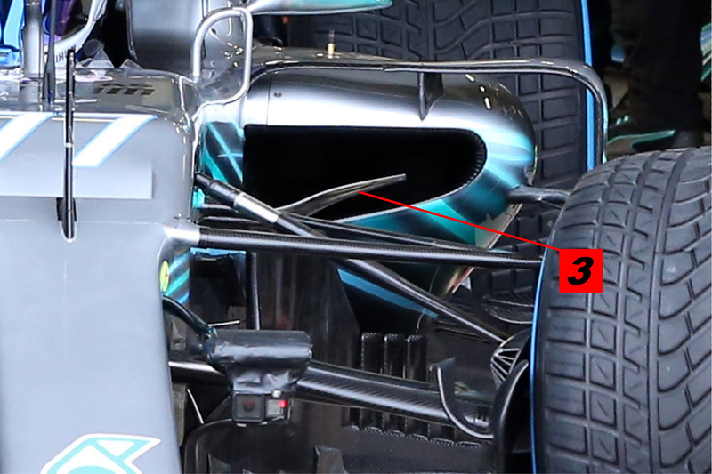 Mercedes AMG F1 W09 sidepod inlaat detail